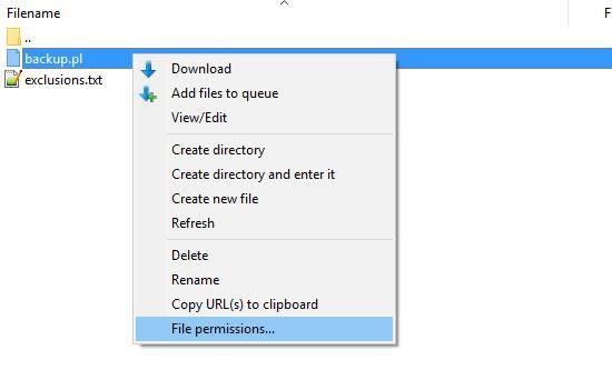 filezilla file permissions