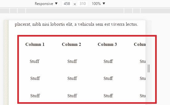 Xhtml table width