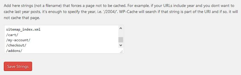 WooCommerce Pages to Exclude From Cache