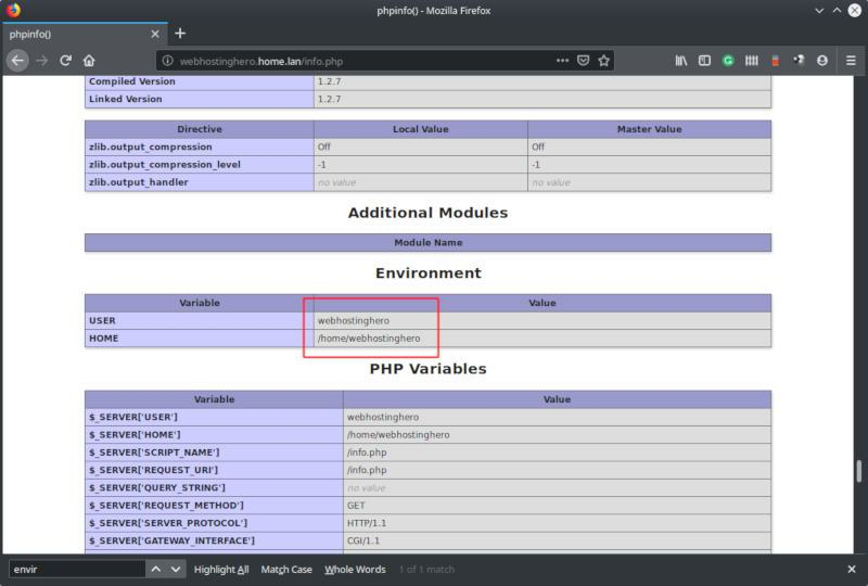 centos php-fpm phpinfo environment