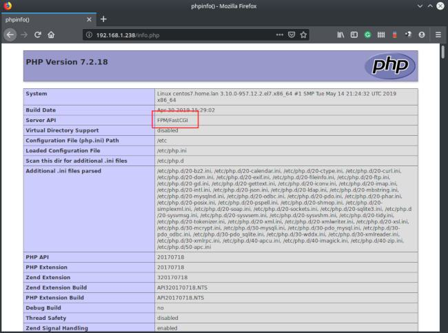 phpinfo php-fpm fastcgi
