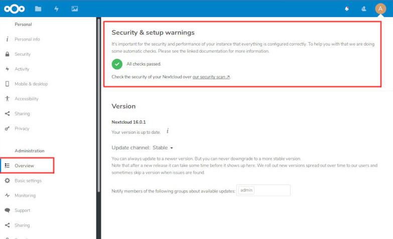 nextcloud settings overview security setup warnings