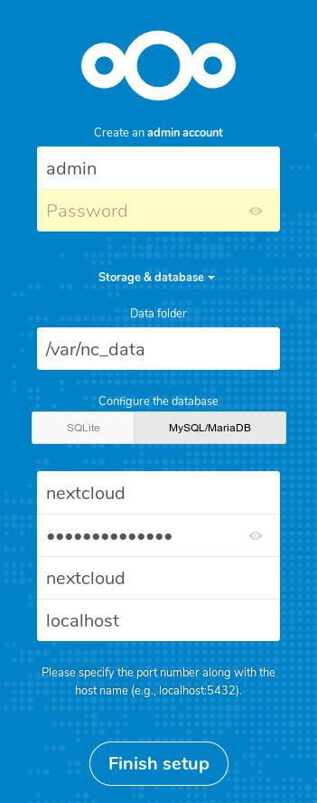 nextcloud storage and mysql setup